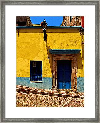 House In Yellow And Blue Framed Print by Mexicolors Art Photography