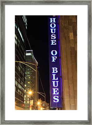 House Of Blues Sign In Chicago Framed Print by Paul Velgos