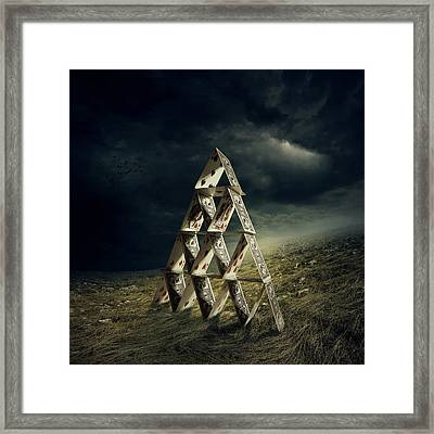 House Of Cards Framed Print by Zoltan Toth