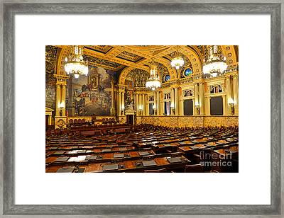 House Of Representatives Chamber In Harrisburg Pa Framed Print by Olivier Le Queinec