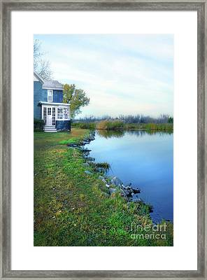Framed Print featuring the photograph House On A Lake by Jill Battaglia
