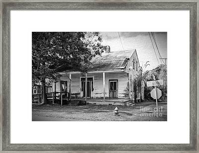 House On Chetimaches St. Bw Digital Art Framed Print by Kathleen K Parker