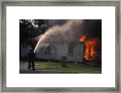 House On Fire Framed Print