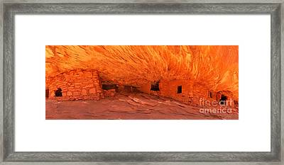 House On Fire Panoramic View Framed Print