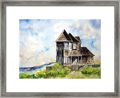 House On Little Lake Street Mendocino Framed Print