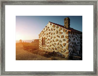 House On The Cliff Framed Print by Carlos Caetano