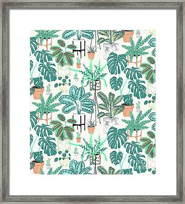 House Plants Teal Framed Print by Jacqueline Colley