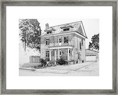 House Portrait In Ink 1 Framed Print