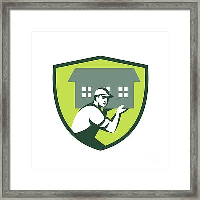 House Remover Carrying House Shoulder Crest Retro Framed Print by Aloysius Patrimonio