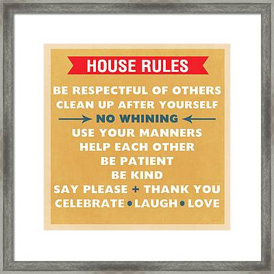 House Rules Framed Print by Linda Woods