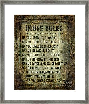 House Rules On Aged Vintage Retro Looking Parchment Framed Print