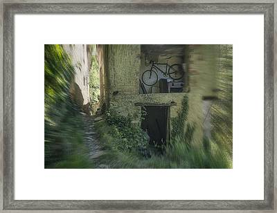 House With Bycicle Framed Print
