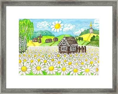 House With Camomiles, Painting Framed Print
