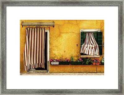 House With Drapes Burano Italy Framed Print by Xavier Cardell