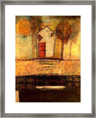 House With Red Door Framed Print by Lynn Bregman-Blass