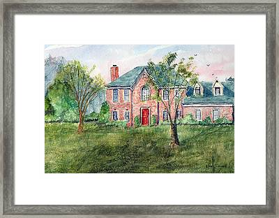 House With The Red Door - Watercolor Framed Print by Barry Jones