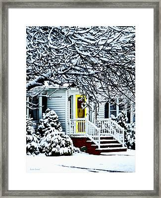 House With Yellow Door In Winter Framed Print by Susan Savad
