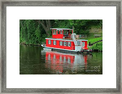 Houseboat On The Mississippi River Framed Print