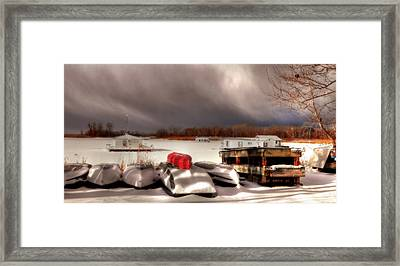 Houseboats In Winter Framed Print by Brian Fisher