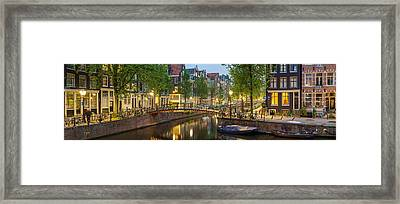 Houses Along Canal At Dusk Framed Print by Panoramic Images