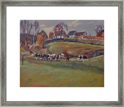 Houses And Cows In Schweiberg Framed Print