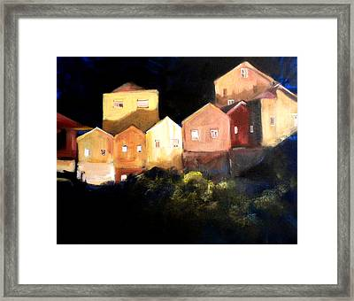 Houses At Sunset Framed Print by Paula Strother