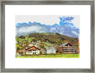 Houses At The Foothills Framed Print