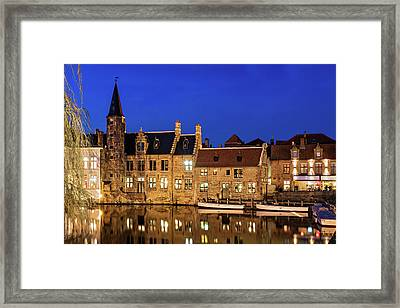 Framed Print featuring the photograph Houses By A Canal - Bruges, Belgium by Barry O Carroll