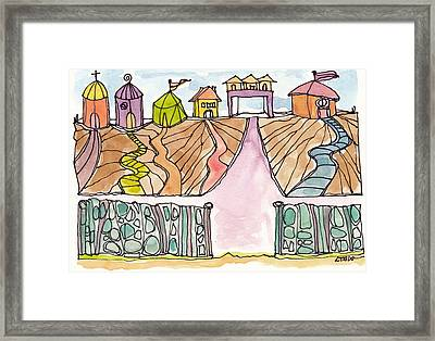 Houses By The Sea Framed Print by Linda Kay Thomas
