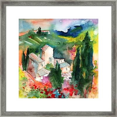 Houses In Montepulciano In Tuscany 01 Framed Print by Miki De Goodaboom