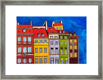 Houses In The Oldtown Of Warsaw Framed Print by Dora Hathazi Mendes