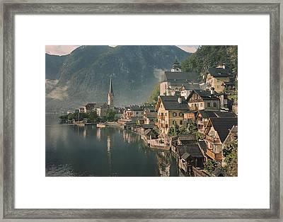 Houses Line The Lake Of Hallstatt Framed Print