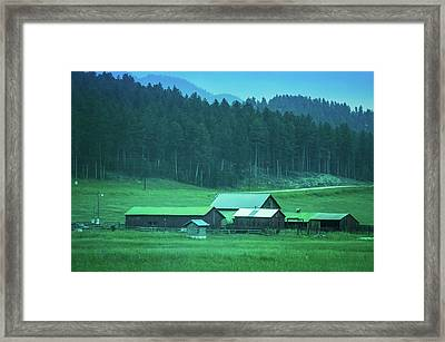 Houses On The Hill, South Dakota Framed Print