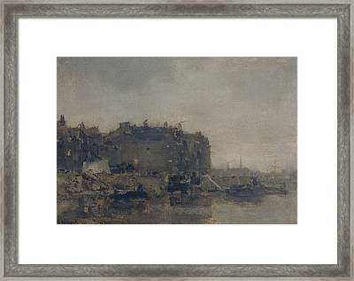 Houses On The Prins Hendrikkade In Amsterdam On A Foggy Day Framed Print