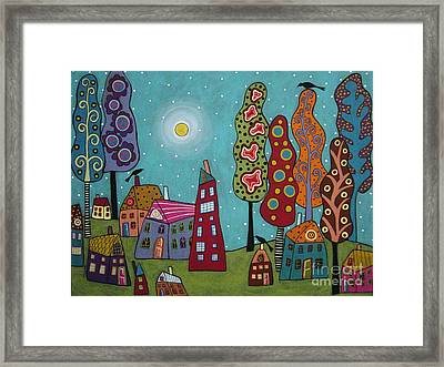 Houses Trees And Birds Framed Print by Karla Gerard