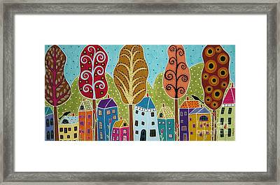 Houses Trees Birds Painting By Karla G Framed Print by Karla Gerard