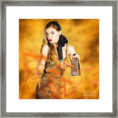 Housewife Grating Carrots Framed Print