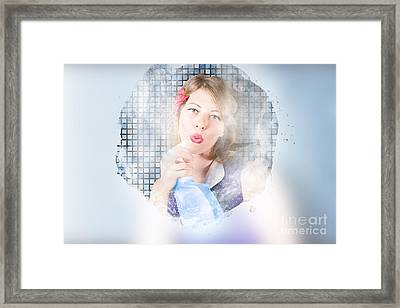 Housewife Killing Germs With Blue Cleaning Bottle Framed Print by Jorgo Photography - Wall Art Gallery