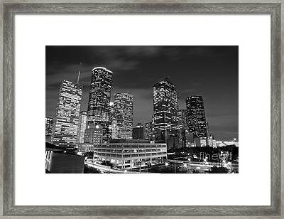 Houston By Night In Black And White Framed Print
