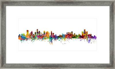 Houston Detroit Skylines Mashup Framed Print by Michael Tompsett