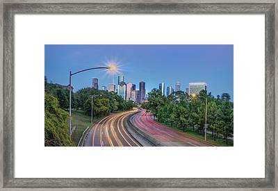 Houston Evening Cityscape Framed Print