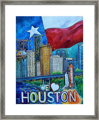Framed Print featuring the painting Houston Montage by Patti Schermerhorn
