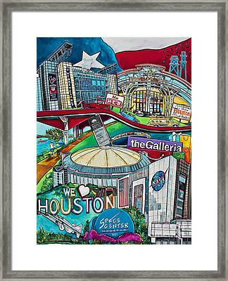 Framed Print featuring the painting Houston Montage Two by Patti Schermerhorn