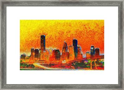 Houston Skyline 135 - Da Framed Print by Leonardo Digenio