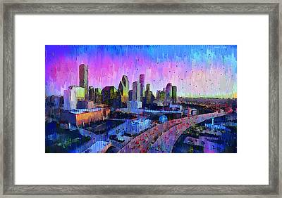 Houston Skyline 34 - Da Framed Print by Leonardo Digenio