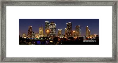 Houston Skyline At Night Framed Print by Jon Holiday