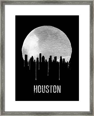 Houston Skyline Black Framed Print by Naxart Studio