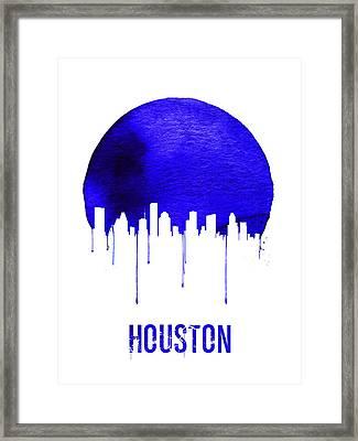 Houston Skyline Blue Framed Print by Naxart Studio