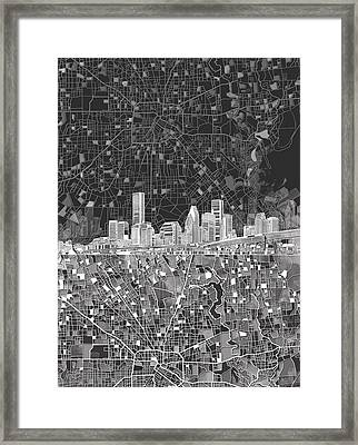 Houston Skyline Map Black And White Framed Print by Bekim Art