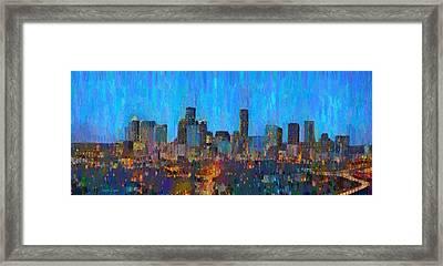 Houston Skyline Night 50 - Da Framed Print